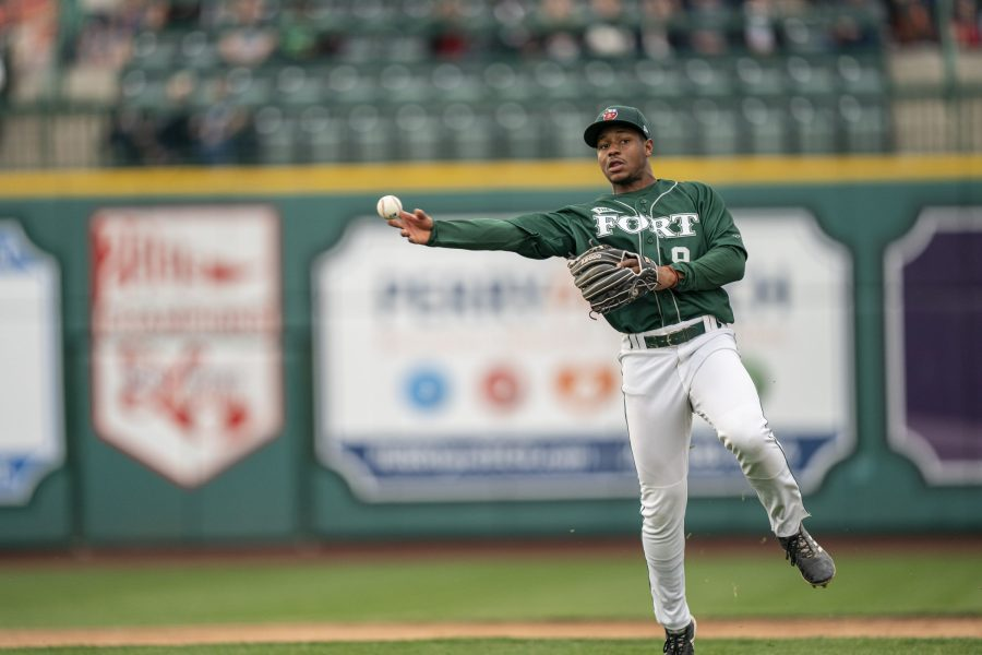 Padres prospect Xavier Edwards throws from shortstop for Fort Wayne TinCaps