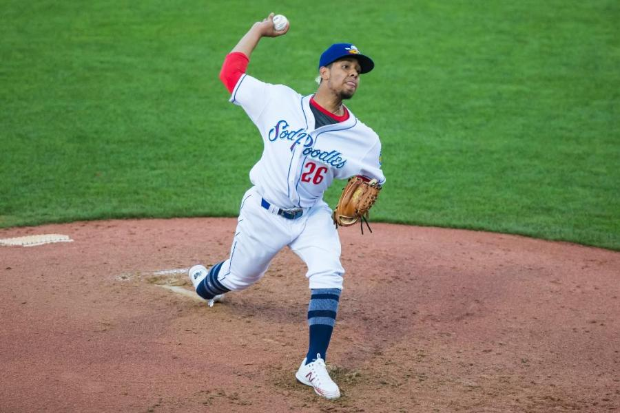 Luis Patiño Padres prospect pitching for Amarillo Sod Poodles.