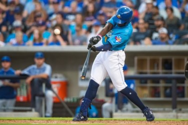 Taylor Trammell, San Diego Padres prospect batting for Amarillo Sod Poodles