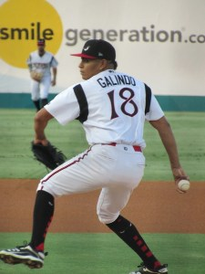 Padres prospect Ruben Galindo pitches for the Lake Elsinore Storm