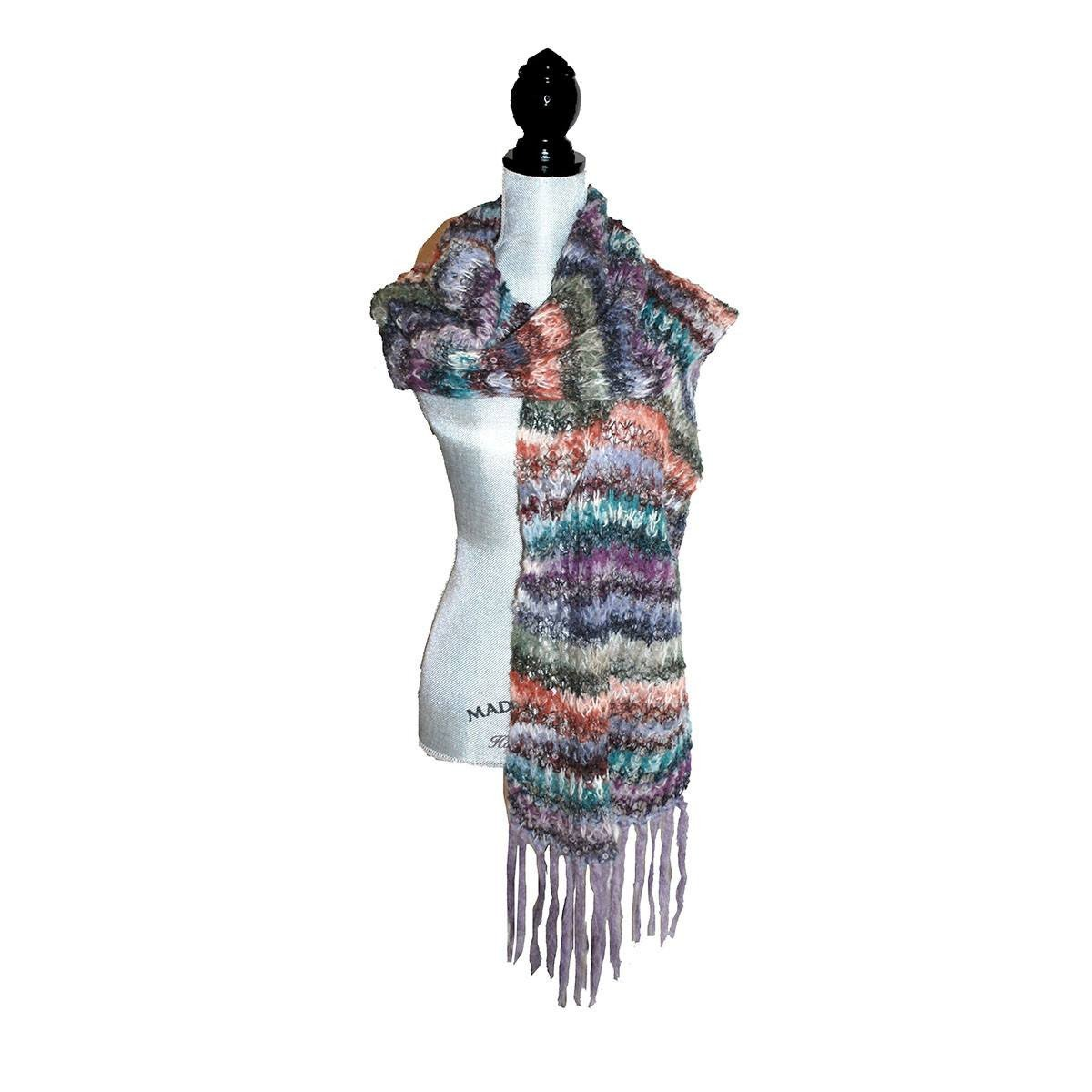 Vintage Long Fringed Shawl, Hand Crocheted Mohair, Multi-Color