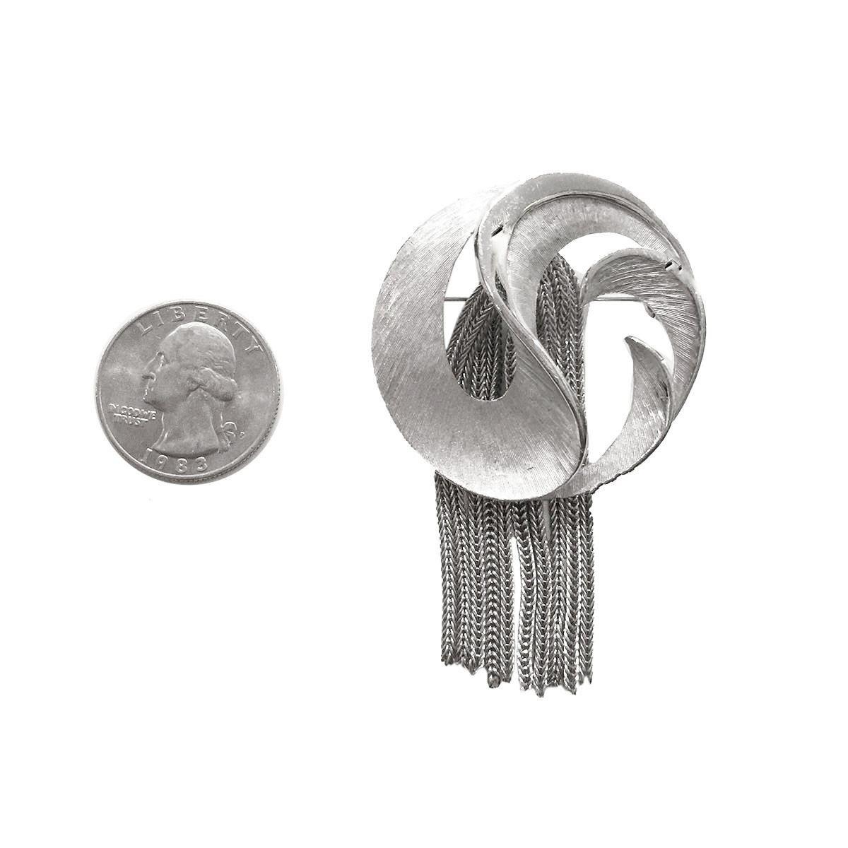 Mid-Century Silver Brooch, Metal Fringe