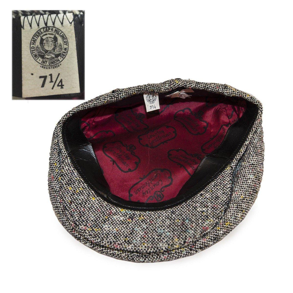 Black Tweed Vintage Cap by Country Gentlemen, Hat Size 7.25
