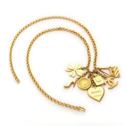 Vintage Chanel Gold Plated Charm Chain Necklace
