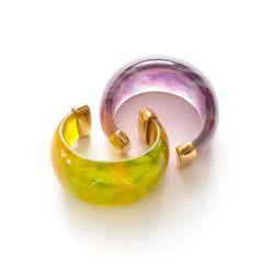 Vintage Yves Saint Laurent Dome Cuff Bracelets, Purple & Yellow Lucite