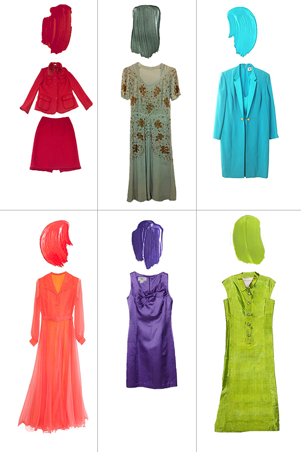 Colorful vintage cocktail dresses
