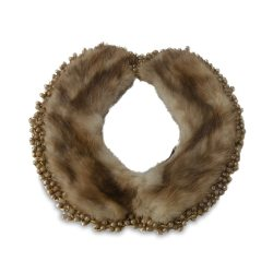 """1940s Brown Mink Beaded Collar Necklace, 21"""""""