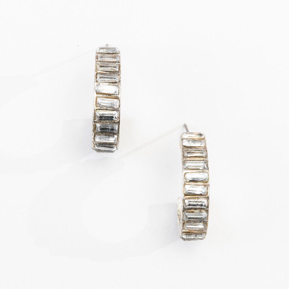 Small Hoop Crystal Earrings
