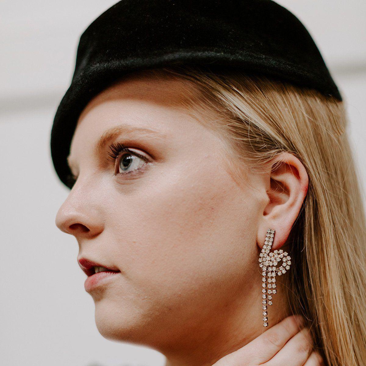 Vintage 80s Rhinestone Loop Dangle Earrings