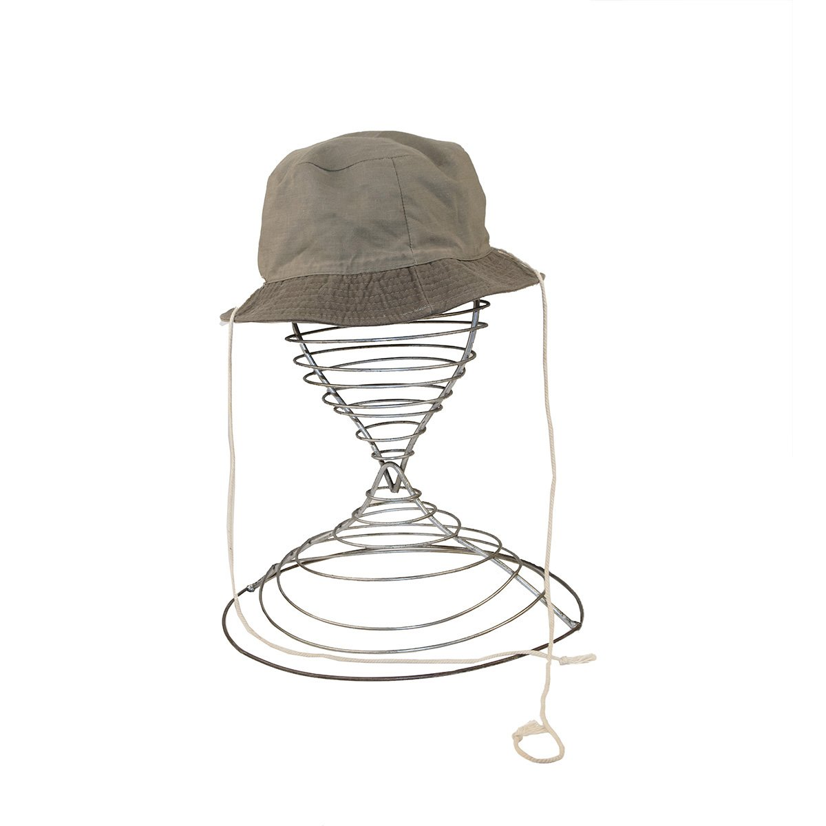 Green Canvas Bucket Hat, String Ties, Size 23