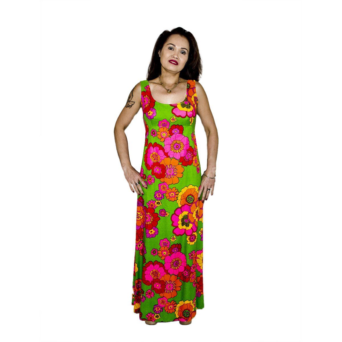 970s Floral Maxi Dress, Sleeveless with Rhinestone Buttons