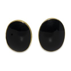 Louis Booth Black Onyx Earrings, Gold Plated Setting
