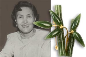 Lucky bamboo brooch