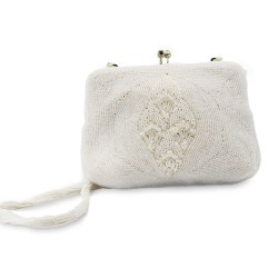 1950s white beaded cocktail purse