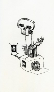 a skull with a face and a hand whose fingers resemble soggy fast food french fries