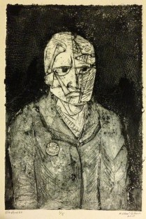 Life Puncht, 2014; collograph; Image: 8 x 5 inches