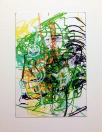 <<>>, 2015; 13 potential marker choices, 1 180 degree rotation, 1 90 degree rotation, black or white China marker, on paper mounted to board; 8x10 inches, object size