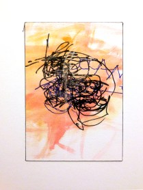 Boxxed X, 2015; 7 potential marker choices, watercolor, 1 crayon choice, on paper mounted to board; 8x10 inches, object size