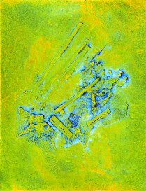 Aether - Relativity Collision II, 2017; collagraph, engraving; 3x5 inches