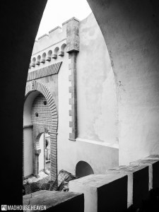Medieval islamic door way, view of courtyard, orientalist architecture, Science Romanticism Pena National Palace.