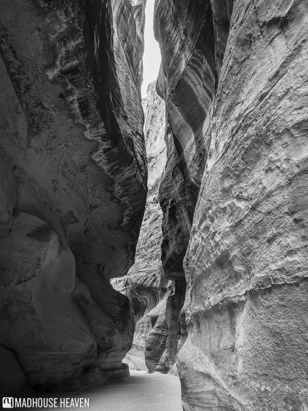 The narrow walls of the Siq and a winding path running through them