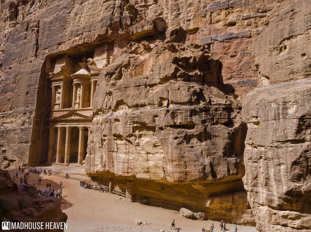 View of the Treasury, carved into the red limestone of Petra