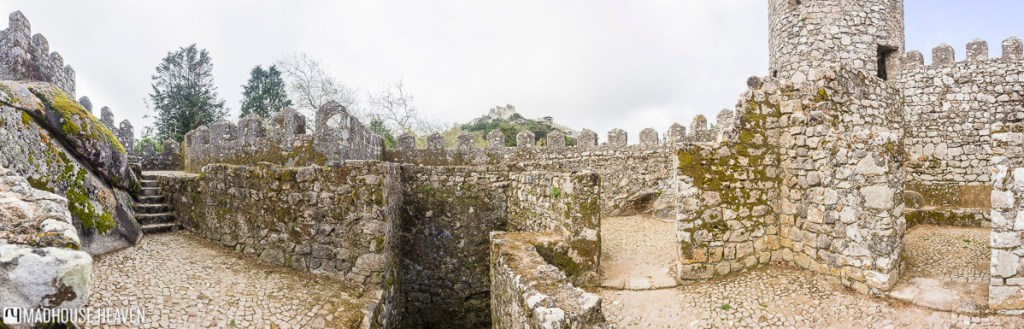 Upper levels of battlements along the Moorish Castle in Sintra