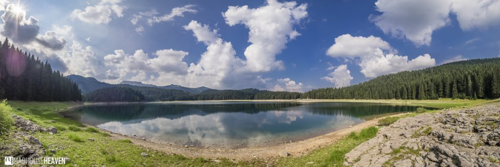 Malo jezero, the little lake, on the other side of the strait that divides Durmitor National Park's Black Lake in Montenegro