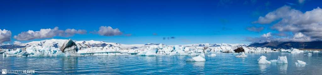 Panorama of the Jökulsárlón Glacier Lagoon inIceland, seen from the water level