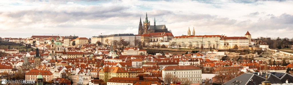 A panorama of Prague, with the Cathedral of St. Vitus on the hill