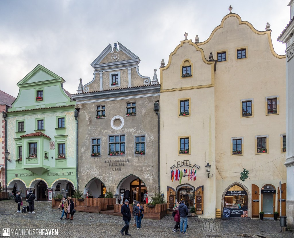 A row of beautiful buildings line one side of Český Krumlov's market square, which dates back to the 14th Century