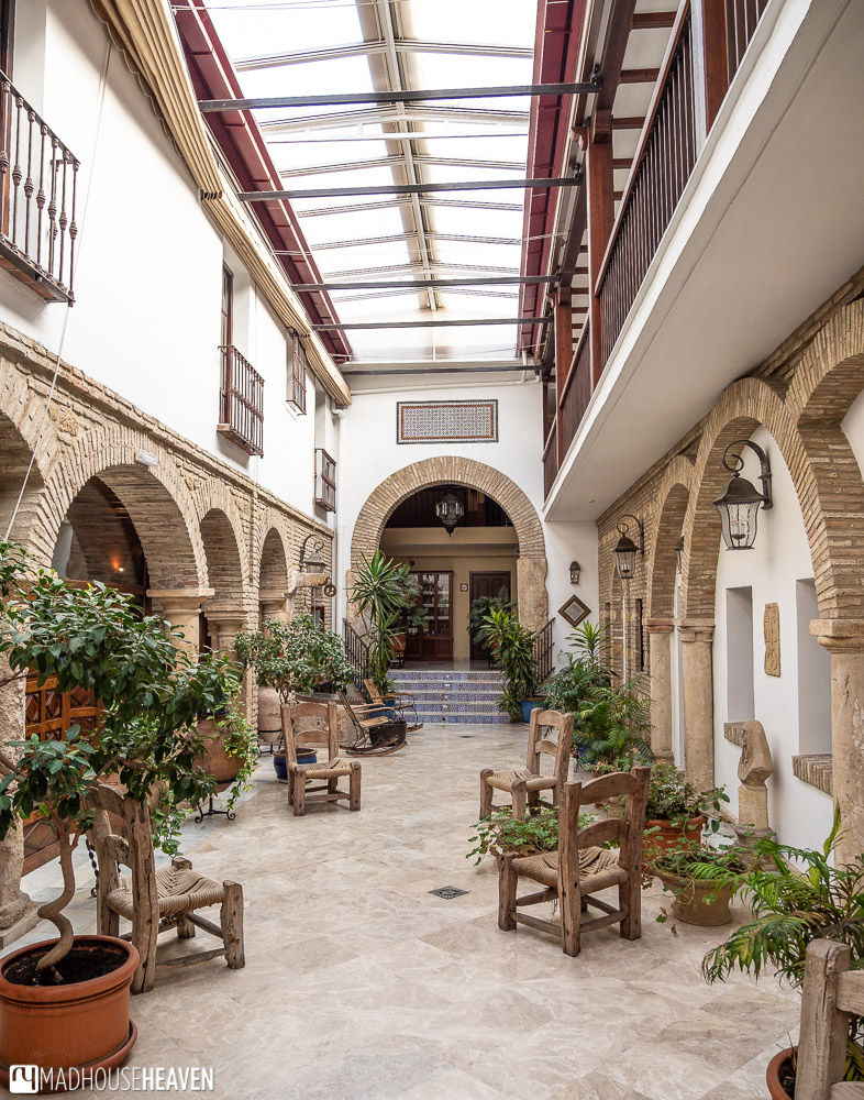 A long hotel foyer in a Moorish house built before the middle ages