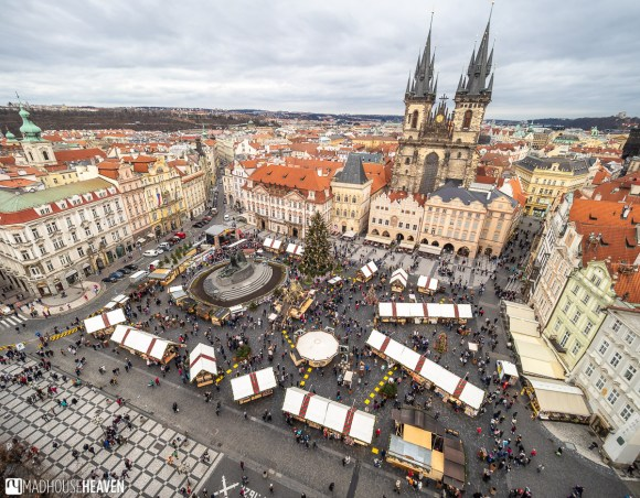 The Christmas Market of Prague Old Town with the Church of our Lady Before Tyn