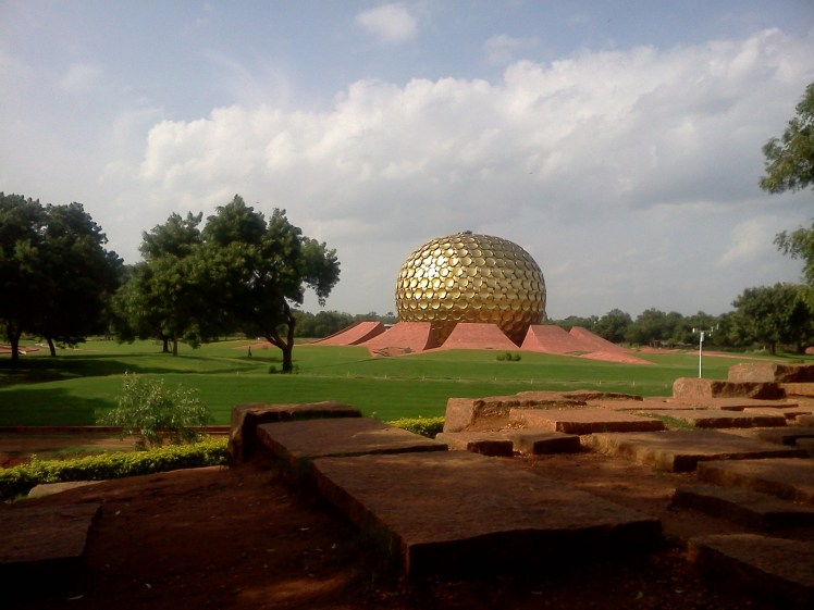 Matrimandir- the beautiful golden globe shinning in the sun.jpg