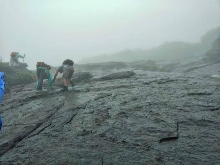 11. Climbing misty water fall, Kumara parvatha