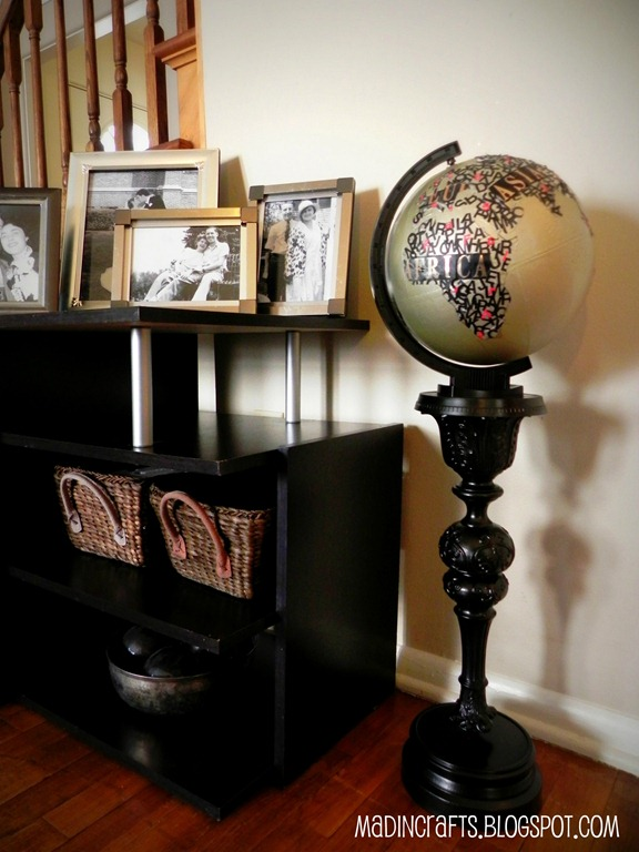 Typographical Globe with Upcycled Pedestal
