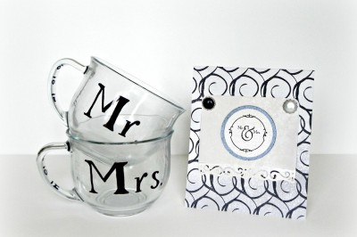 """""""Mr. and Mrs."""" Mugs – a black and white wedding gift"""