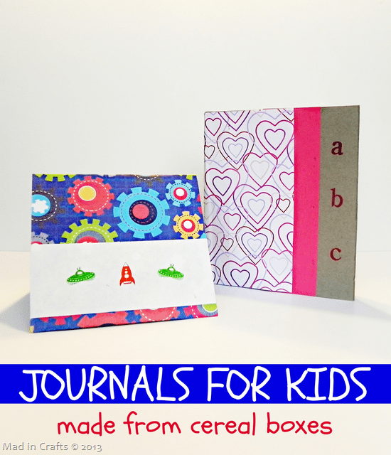 Colorful Kids Journals Made from Cereal Boxes