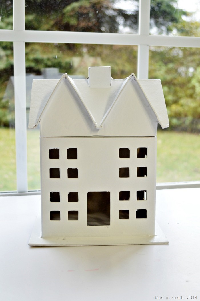 spray painted paper mache house