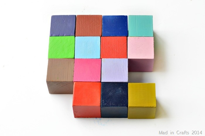 Spray Painted Blocks Mad in Crafts