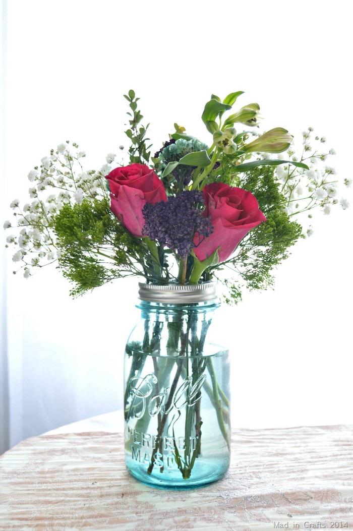 grocery store bouquet in mason jar