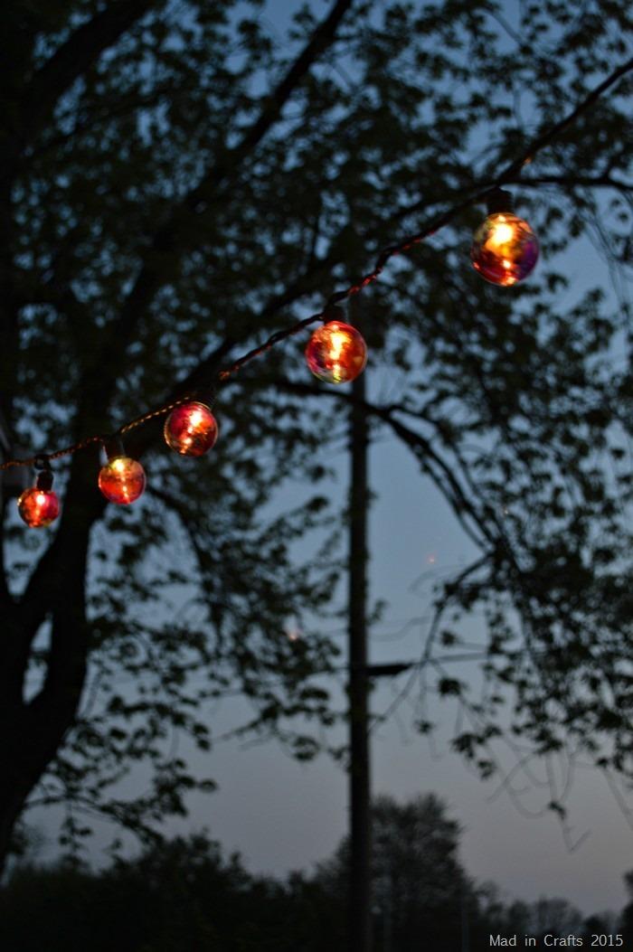 Colored Globe Lights at Dusk