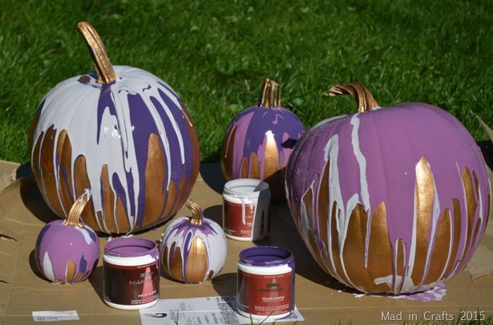 ombre paint drip pumpkins