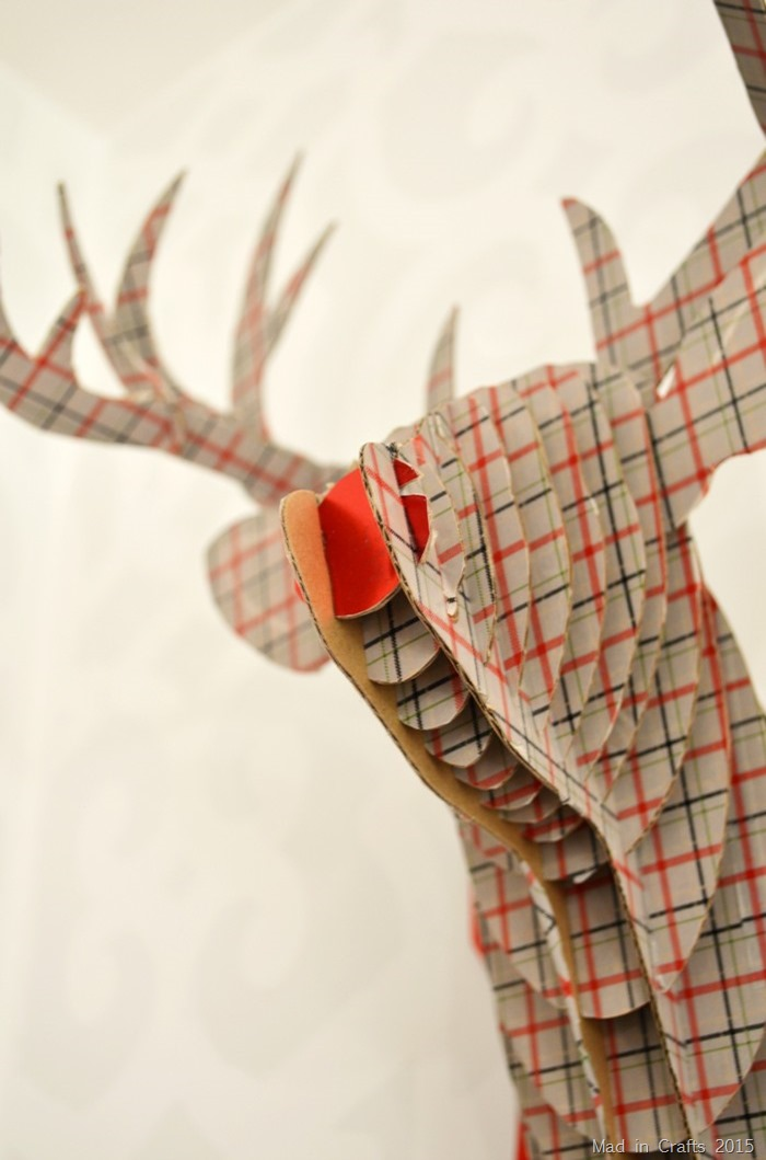 washi tape on cardboard deer head