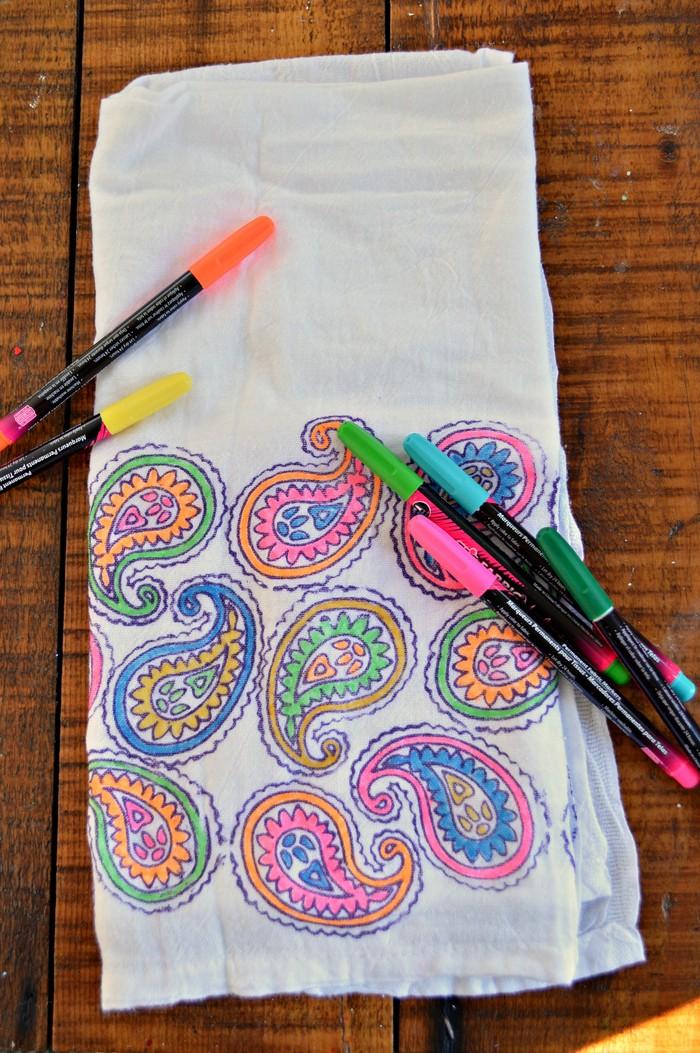 Block Print Coloring Page Towels