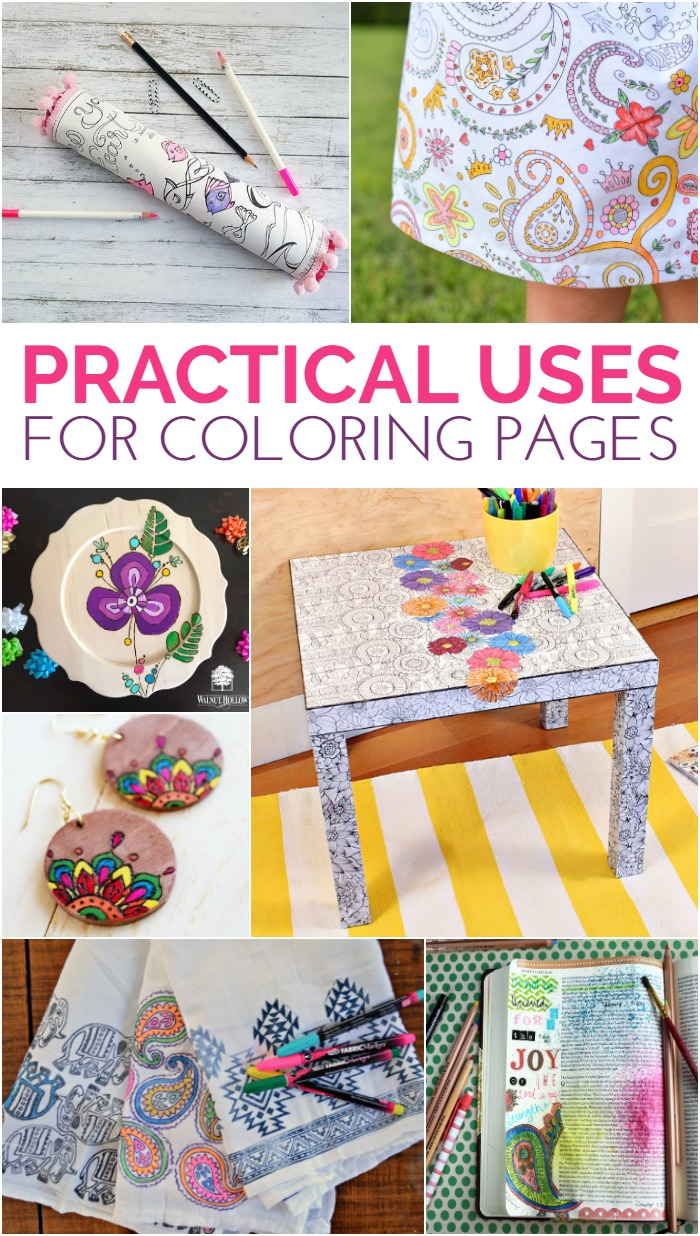 Collage of coloring page DIY projects