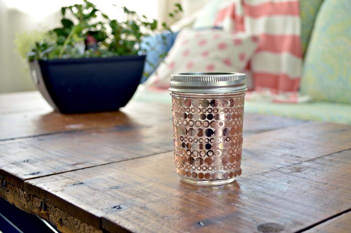 Copper Polka Dot Mason Jar