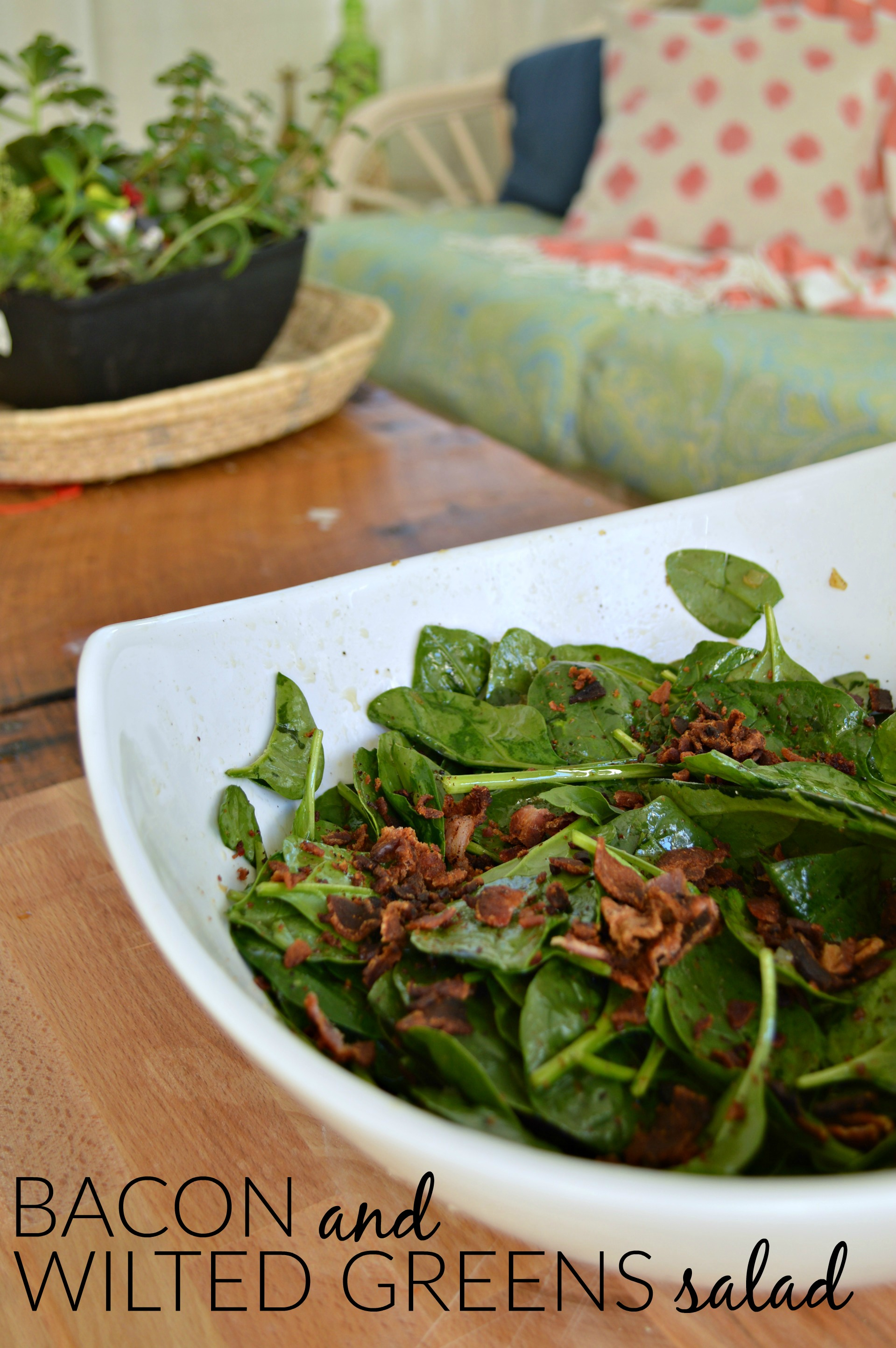 BACON AND WILTED GREENS SALAD