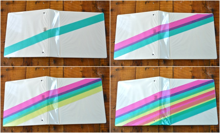 collage of white binders with colorful duck tape