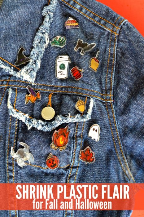 Fall and Halloween design shrink plastic pins on a jean jacket
